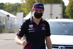 Red Bull driver Max Verstappen of the Netherlands arrives at the Monza racetrack, in Monza, Italy, Thursday, Sept. 9, 2021. The Italian Formula One Grand Prix will be held on Sunday. (AP Photo/Luca Bruno)