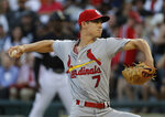 St. Louis Cardinals starting pitcher Luke Weaver throws to a Chicago White Sox batter during the first inning of a baseball game in Chicago, Wednesday, July 11, 2018. (AP Photo/Nam Y. Huh)