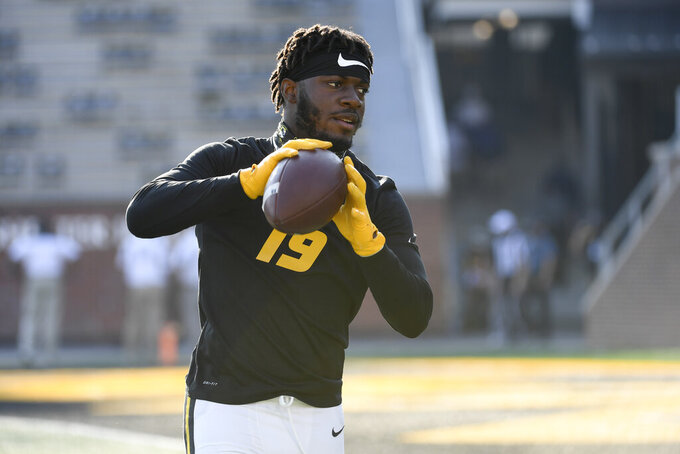 Missouri wide receiver Jay Maclin warms up before the start of an NCAA college football game between LSU and Missouri Saturday, Oct. 10, 2020, in Columbia, Mo. (AP Photo/L.G. Patterson)