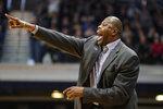 Georgetown head coach Patrick Ewing directs his team against Butler in the second half of an NCAA college basketball game in Indianapolis, Saturday, Feb. 15, 2020. Georgetown defeated Butler 73-66. (AP Photo/Michael Conroy)