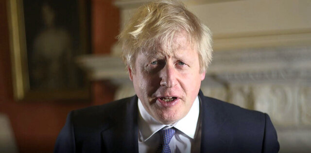 In this screen grab image issued by the Prime Minister's Press Office, showing Prime Minister Boris Johnson during his New Year's message to be broadcast Tuesday Dec. 31, 2019.  Johnson has said Britain can look forward to a decade of