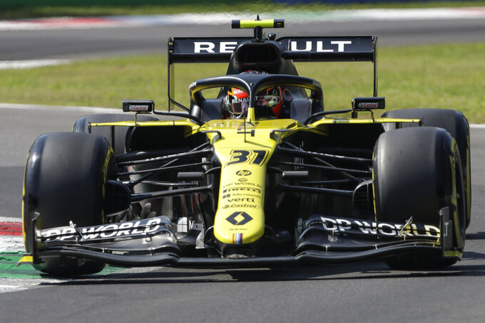 Renault driver Esteban Ocon of France steers his car during the third practice session for Sunday's Italian Formula One Grand Prix, at the Monza racetrack in Monza, Italy, Saturday, Sept. 5 , 2020. (Luca Bruno, Pool via AP)