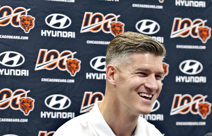 Chicago Bears general manager Ryan Pace talks with media during an NFL football news conference Sunday, July 21, 2019, during a