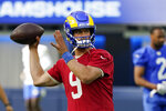 Los Angeles Rams quarterback Matthew Stafford throws during NFL football camp Thursday, June 10, 2021, in Inglewood, Calif. (AP Photo/Marcio Jose Sanchez)