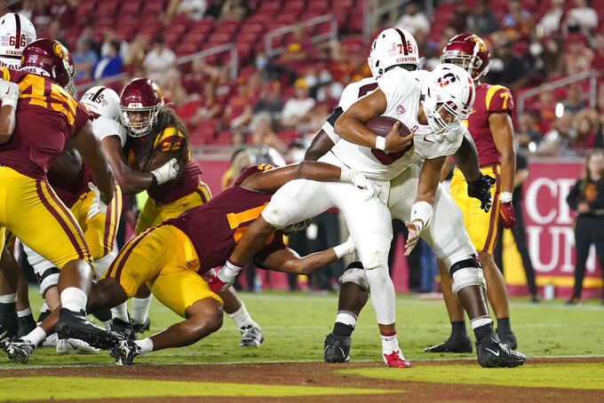 Stanford quarterback Isaiah Sanders (0) scores a rushing touchdown against Southern California during the second half of an NCAA college football game Saturday, Sept. 11, 2021, in Los Angeles. (AP Photo/Marcio Jose Sanchez)