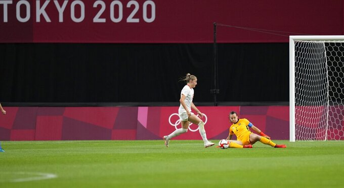 Canada's Janine Beckie, left, kicks the ball to score her side's 2nd goal during a women's soccer match against Chile at the 2020 Summer Olympics, Saturday, July 24, 2021, in Sapporo, Japan. (AP Photo/Silvia Izquierdo)