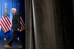Democratic presidential candidate Sen. Bernie Sanders, I-Vt., arrives to speak at George Washington University in Washington, Wednesday, June 12, 2019, on his policy of democratic socialism, the economic philosophy that has guided his political career. (AP Photo/Andrew Harnik)