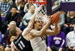 Gonzaga forward Brandon Clarke, right, shoots over Portland guard Josh McSwiggan during the first half of an NCAA college basketball game in Portland, Ore., Saturday, Jan. 19, 2019. (AP Photo/Craig Mitchelldyer)
