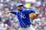 Kansas City Royals pitcher Jakob Junis throws against the Minnesota Twins during the first inning of a baseball game Sunday, June 16, 2019, in Minneapolis. (AP Photo/Stacy Bengs)
