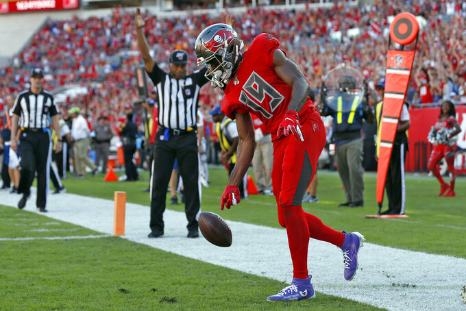 Tampa Bay Buccaneers wide receiver Breshad Perriman (19) celebrates his 12-yard touchdown pass against the Indianapolis Colts during the second half of an NFL football game Sunday, Dec. 8, 2019, in Tampa, Fla. (AP Photo/Mark LoMoglio)