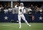 Dallas Cowboys quarterback Dak Prescott (4) throws a pass in the first half of a NFL football game against the Miami Dolphins in Arlington, Texas, Sunday, Sept. 22, 2019. (AP Photo/Ron Jenkins)