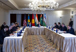 U.S. Secretary of State Mike Pompeo, center right, meets with Central Asian (C5) foreign ministers from Kazakhstan, Uzbekistan, Tajikistan, Kyrgyzstan, and Turkmenistan, Sunday, Sept. 22, 2019, in New York. . (AP Photo/Craig Ruttle)