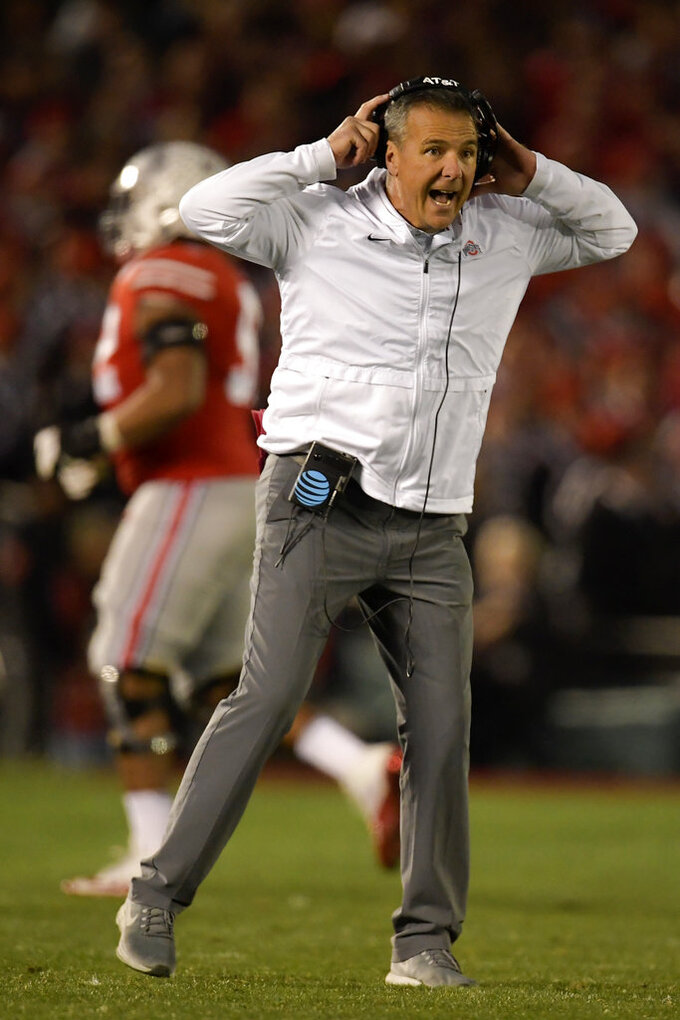 Ohio State coach Urban Meyer reacts during the second half of the team's Rose Bowl NCAA college football game against Washington on Tuesday, Jan. 1, 2019, in Pasadena, Calif. (AP Photo/Mark J. Terrill)