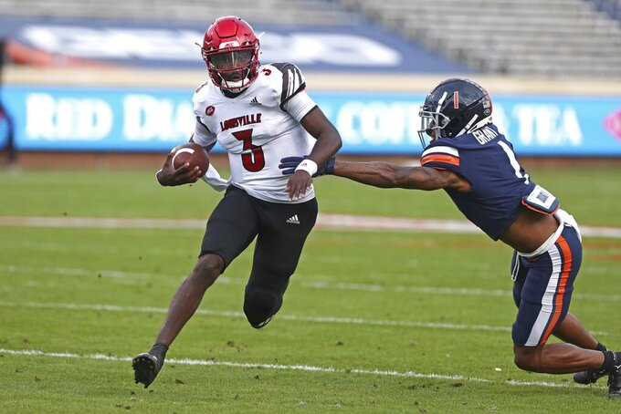 Louisville quarterback Malik Cunningham (3) runs the ball during an NCAA college football game against Virginia Saturday, Nov. 14, 2020, in Charlottesville, Va. (Erin Edgerton/The Daily Progress via AP)