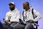 FILE - In this Jan. 29, 2018, file photo, Philadelphia Eagles' Malcolm Jenkins (27) and New England Patriots' Devin McCourty answer questions in St. Paul, Minn. Jenkins has teamed with fellow NFL players to launch a venture capital fund, Broad Street Ventures on Wednesday, Oct. 7, 2020. The fund focuses on late stage and growth stage technology and consumer products. Jenkins and co-founder Ralonda Johnson recruited additional NFL players and industry leaders to represent the fund. Among them are defensive backs Devin and Jason McCourty of the Patriots. (AP Photo/Eric Gay, File)