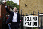FILE - In this Thursday, May 23, 2019 file photo Jeremy Corbyn leader of Britain's opposition Labour Party gestures after voting in the European Elections in London. (AP Photo/Kirsty Wigglesworth, File)