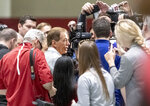 Alabama football coach Nick Saban talks with the media at Alabama's NFL Pro Day, Tuesday, March 19, 2019, in Tuscaloosa, Ala. (AP Photo/Vasha Hunt)