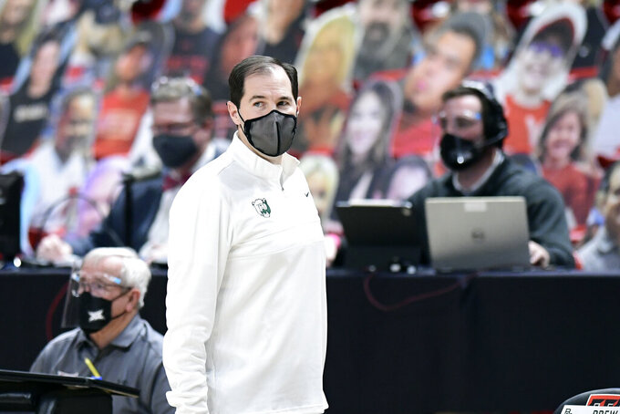 Baylor head coach Scott Drew watches from the sideline during the first half of an NCAA college basketball game against Texas Tech in Lubbock, Texas, Saturday, Jan. 16, 2021. (AP Photo/Justin Rex)