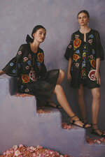 This photo provided by Griffin Marketing and Public Relations and Carolina Herrera shows models posing for the Carolina Herrera Resort Collection 2020.  The Mexican government accused this week the fashion house Carolina Herrera of cultural appropriation because it incorporated Mexican indigenous elements and embroidery in one of its collections. The fashion house responded Wednesday, June 12, 2019  that it only wanted to pay tribute to the richness of Mexican culture. ( Carolina Herrera via AP)