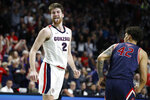 Gonzaga's Drew Timme (2) celebrates after scoring against Saint Mary's in the first half of an NCAA college basketball game in the final of the West Coast Conference men's tournament Tuesday, March 10, 2020, in Las Vegas. (AP Photo/John Locher)