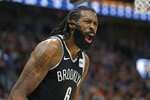 Brooklyn Nets center DeAndre Jordan (6) shouts at an official in the first half during an NBA basketball game against the Utah Jazz Tuesday, Nov. 12, 2019, in Salt Lake City. (AP Photo/Rick Bowmer)