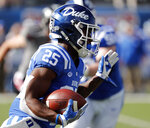 Duke running back Deon Jackson (25) runs upfield for a first down against Temple during the first half of the Independence Bowl, an NCAA college football game in Shreveport, La., Thursday, Dec. 27, 2018. (AP Photo/Rogelio V. Solis)