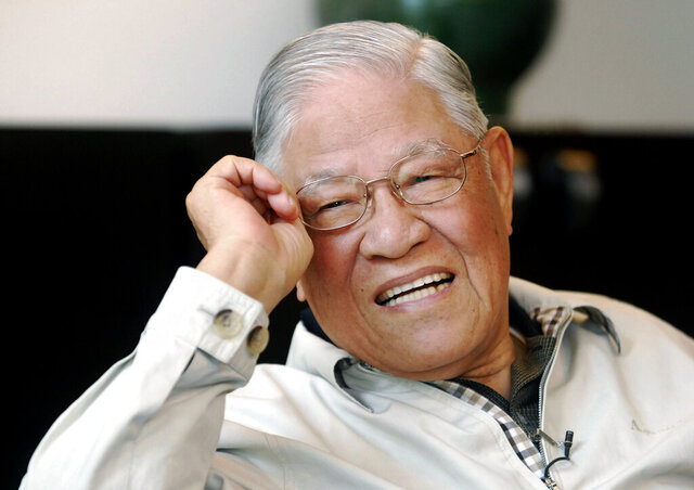 FILE - In this May 28, 2008, file photo, Taiwan's former President Lee Teng-hui speaks during an exclusive interview with The Associated Press at his home in Taipei, Taiwan. Local media are reporting that ex-Taiwanese President Lee Teng-hui, who oversaw the island's transition to full democracy, has died. Lee was 97 and had largely dropped out of public life in his later years. (AP Photo/Chiang Ying-ying, File)