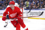 Detroit Red Wings forward Dylan Larkin (71) skates during the second period of an NHL hockey game against the Buffalo Sabres, Thursday, Feb. 6, 2020, in Buffalo, N.Y. (AP Photo/Jeffrey T. Barnes)