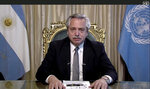 In this image made from UNTV video, Alberto Fernández, President of Argentina, speaks in a pre-recorded message which was played during the 75th session of the United Nations General Assembly, Tuesday, Sept. 22, 2020, at UN headquarters. The U.N.'s first virtual meeting of world leaders started Tuesday with pre-recorded speeches from some of the planet's biggest powers, kept at home by the coronavirus pandemic that will likely be a dominant theme at their video gathering this year. (UNTV via AP)