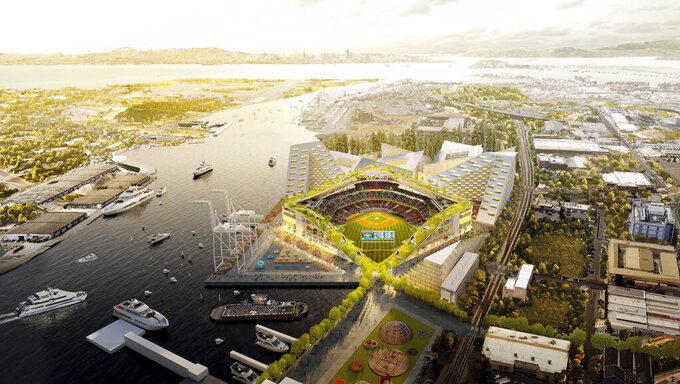 FILE - This rendering provided by the Oakland Athletics and BIG - Bjarke Ingels Group shows an elevated view of the baseball club's proposed new at Howard Terminal in Oakland, Calif. The Oakland City Council approved preliminary terms for a new $12 billion waterfront ballpark project for the Athletics, Tuesday, July 20, 2021. But it's not clear if the 6-1 vote will be enough to keep the A's at the negotiating table instead of leaving the city. (Courtesy of BIG - Bjarke Ingels Group/Oakland Athletics via AP, File)