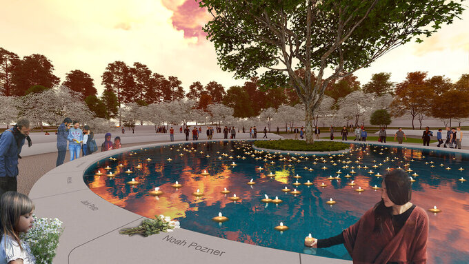 This illustration provided by Daniel Affleck, depicts his design for the proposed Sandy Hook victims memorial in Newton, Conn. The state is expected to give final approval to $2.5 million for the project Friday, July 23, 2021. (SWA Group/Daniel Affleck via AP)