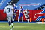Seattle Seahawks wide receiver David Moore (83) catches a pass from quarterback Russell Wilson (3) for a touchdown during the second half of an NFL football game against the Buffalo Bills, Sunday, Nov. 8, 2020, in Orchard Park, N.Y. (AP Photo/John Munson)