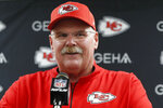 Kansas City Chiefs coach Andy Reid speaks at a news conference after the team's preseason NFL football game against the Pittsburgh Steelers, Saturday, Aug. 17, 2019, in Pittsburgh. The Steelers won 17-7. (AP Photo/Don Wright)