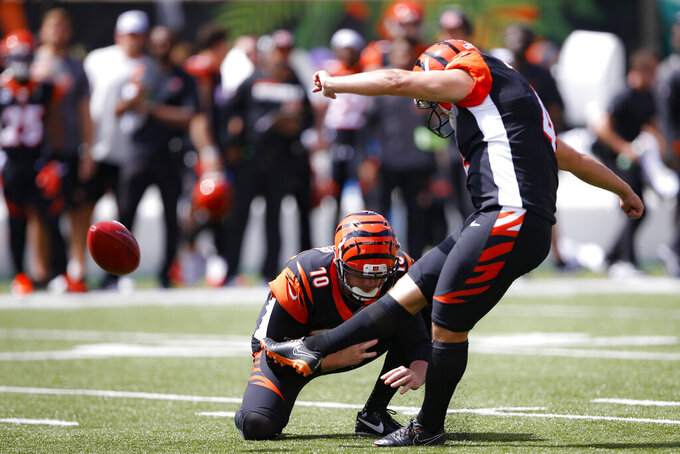 Cincinnati Bengals kicker Randy Bullock (4) kicks an extra point during the first half an NFL football game against the San Francisco 49ers, Sunday, Sept. 15, 2019, in Cincinnati. (AP Photo/Gary Landers)