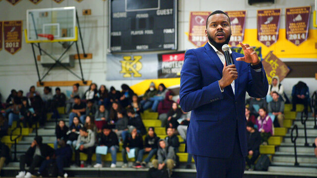 In this image released by HBO, Mayor Michael Tubbs speaks to high school students in Stockton, Calif., in a scene from the documentary