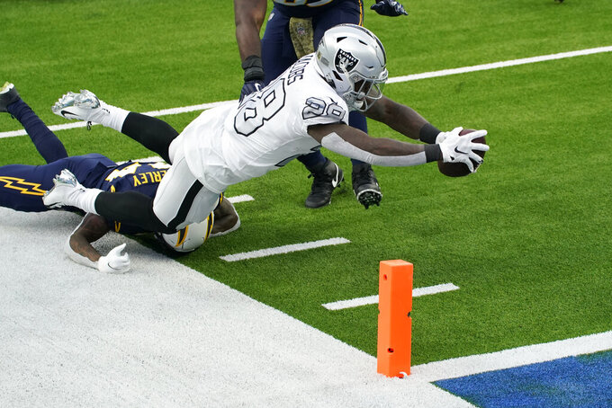Las Vegas Raiders running back Josh Jacobs (28) scores a touchdown during the first half of an NFL football game against the Los Angeles Chargers, Sunday, Nov. 8, 2020, in Inglewood, Calif. (AP Photo/Ashley Landis)