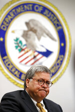 Attorney General William Barr speaks during a tour of a federal prison Monday, July 8, 2019, in Edgefield, S.C. (AP Photo/John Bazemore)