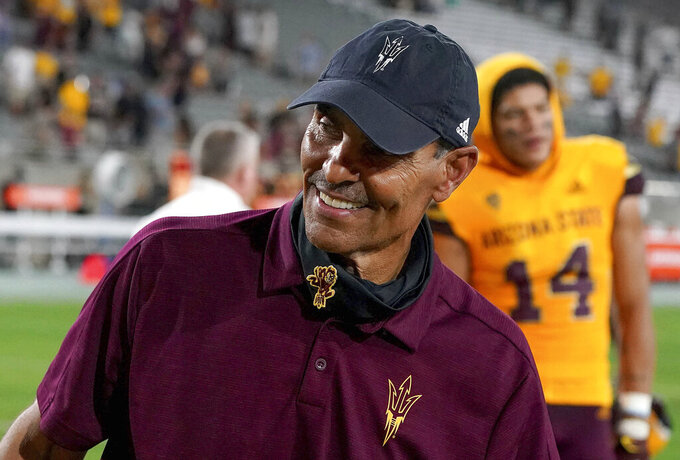Arizona State head coach Hern Edwards smiles after their 35-13 win over Colorado in an NCAA college football game Saturday, Sept 25, 2021, in Tempe, Ariz. (AP Photo/Darryl Webb)