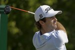 Denny McCarthy hits from the 14th tee during opening round of the Workday Charity Open golf tournament, Thursday, July 9, 2020, in Dublin, Ohio. (AP Photo/Darron Cummings)