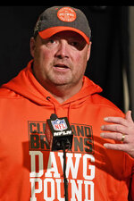 Cleveland Browns head coach Freddie Kitchens answers questions during a news conference after the team defeated the Cleveland Browns in an NFL football game, Sunday, Dec. 29, 2019, in Cincinnati. (AP Photo/Bryan Woolston)