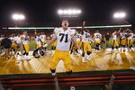 Iowa offensive lineman Mark Kallenberger celebrates at the end of the team's NCAA college football game against Iowa State, Saturday, Sept. 14, 2019, in Ames, Iowa. Iowa won 18-17. (AP Photo/Charlie Neibergall)