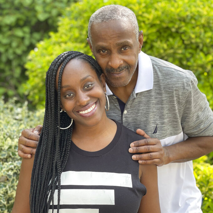 This July 2021 photo provided by Gerald Moody shows Bill Underwood, a senior fellow with The Sentencing Project's Campaign to End Life Imprisonment, and his daughter, Ebony, CEO of We Got Us Now, a national nonprofit that support children and young adults impacted by parental incarceration, in New York. He was a successful R&B and hip hop music promoter in New York City in the late seventies through the eighties, before his 33-year incarceration. A judge granted him compassionate release from federal custody in January, noting his lauded reputation as a mentor to young men in prison and his high-risk exposure to COVID-19 at age 67. (Gerald Moody via AP)