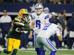 Green Bay Packers' Will Redmond (25) gestures after a missed field goal by Dallas Cowboys' Brett Maher (2), as Chris Jones (6) watches during the second half of an NFL football game in Arlington, Texas, Sunday, Oct. 6, 2019. (AP Photo/Michael Ainsworth)