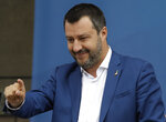 The League leader Matteo Salvini attends a rally with leaders of other European nationalist parties, ahead of the May 23-26 European Parliamentary elections, in Milan, Italy, Saturday, May 18, 2019. (AP Photo/Luca Bruno)