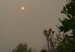 The sun appears orange through wildfire smoke, Wednesday, Sept. 16, 2020, in Olympia, Wash. The smoke from dozens of wildfires that have been raging across the western United States has now drifted thousands of miles across North America, blanketing parts of Canada and Mexico while treating the East Coast to unusually hazy skies and remarkable sunsets. (AP Photo/Ted S. Warren)