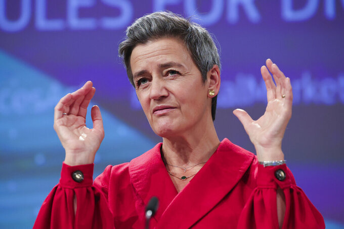 European Commissioner for Europe fit for the Digital Age Margrethe Vestager talks during a news conference on Digital Services Act and the Digital Markets Act at the European Commission headquarters in Brussels, Tuesday, Dec. 15, 2020. (AP Photo/Olivier Matthys, Pool)