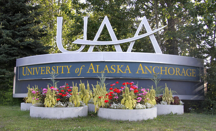 A University of Alaska Anchorage sign is shown Monday, Aug. 12, 2019, in Anchorage, Alaska. A retired University of Alaska Anchorage anthropology professor accused of decades of sexual misconduct is contesting the use of pseudonyms by multiple women who are suing him. Dartmouth College contested the use by some plaintiffs in a class-action lawsuit alleging sexual misconduct by former psychology department professors. The case reached an out-of-court settlement before the pseudonym issue was resolved. (AP Photo/Mark Thiessen)