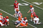Illinois place kicker James McCourt (17) reacts after making the winning field goal during the second half of an NCAA college football game against Rutgers on Saturday, Nov. 14, 2020, in Piscataway, N.J. (AP Photo/Adam Hunger)