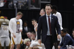 Minnesota head coach Richard Pitino watches during the second half of an NCAA college basketball game against Northwestern at the Big Ten Conference tournament, Wednesday, March 11, 2020, in Indianapolis. Minnesota won 74-57. (AP Photo/Darron Cummings)