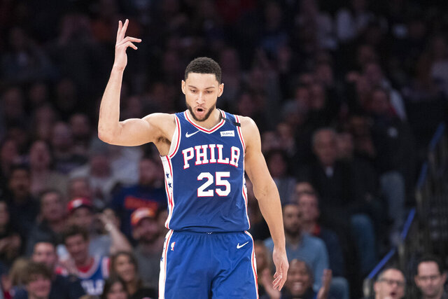 Philadelphia 76ers guard Ben Simmons reacts after scoring a three-point basket in the second half of an NBA basketball game against the New York Knicks, Saturday, Jan. 18, 2020, at Madison Square Garden in New York. (AP Photo/Mary Altaffer)